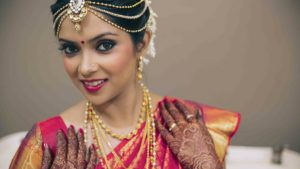 Smiling South Indian Bride Waiting For Her Wedding
